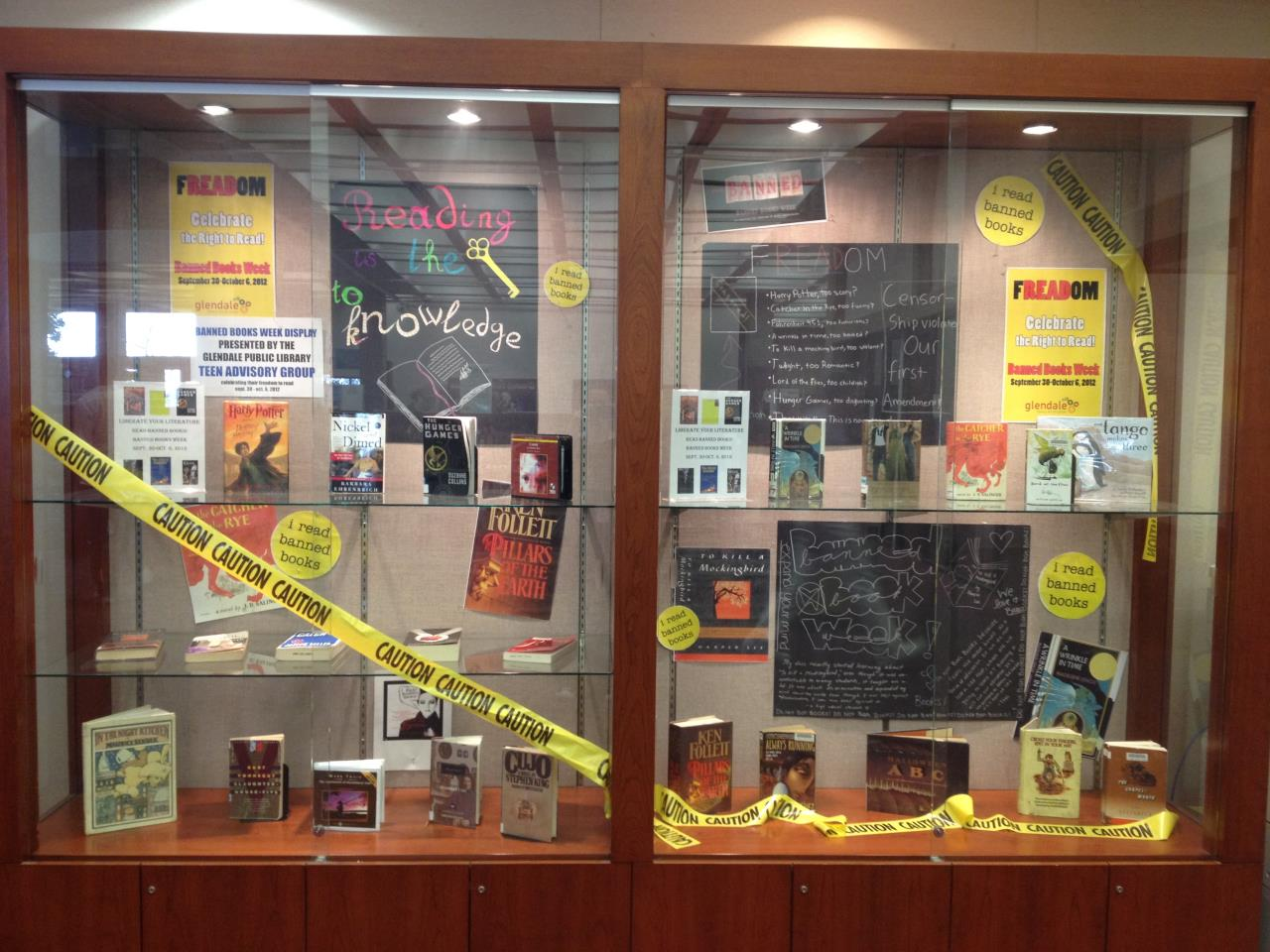 Banned Book Week display created by Teen Advisory Group
