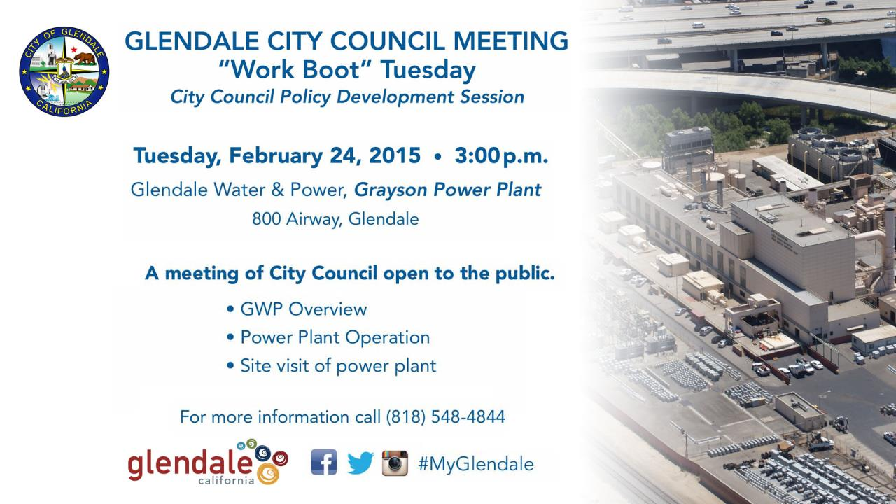 City Council 'Work Boot' Meeting – Tuesday, February 24