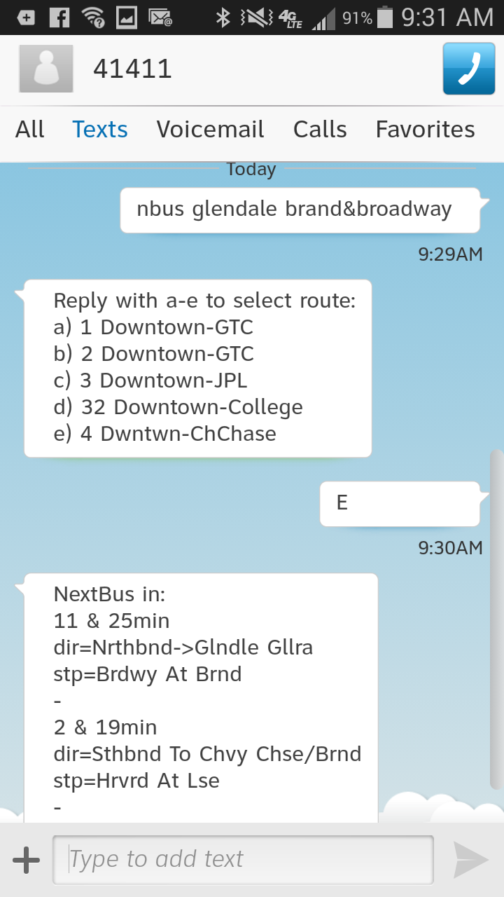 Nextbus Text Message Screenshot