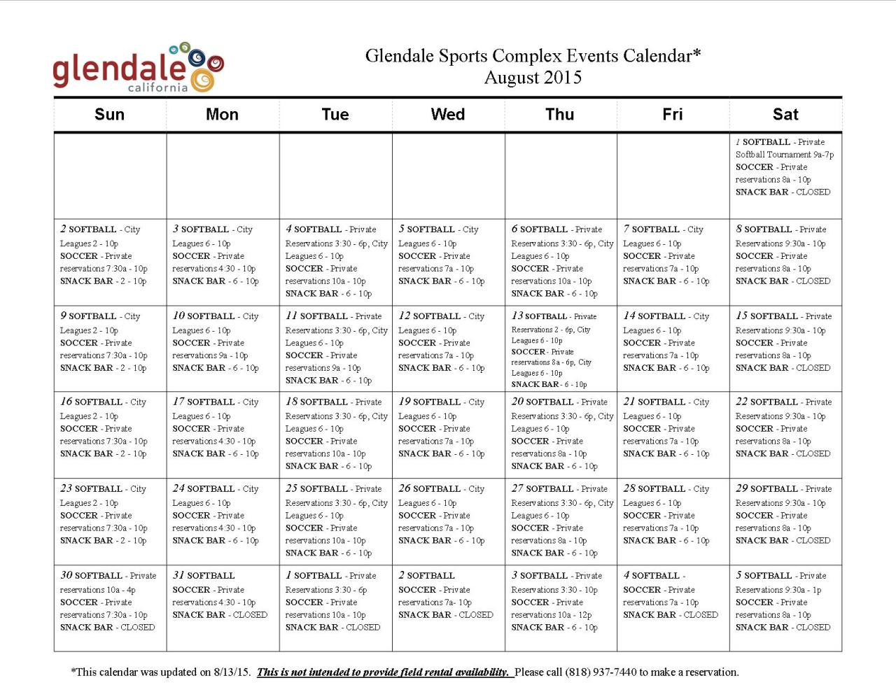 Glendale sports complex city of glendale ca calendar of events 1betcityfo Gallery
