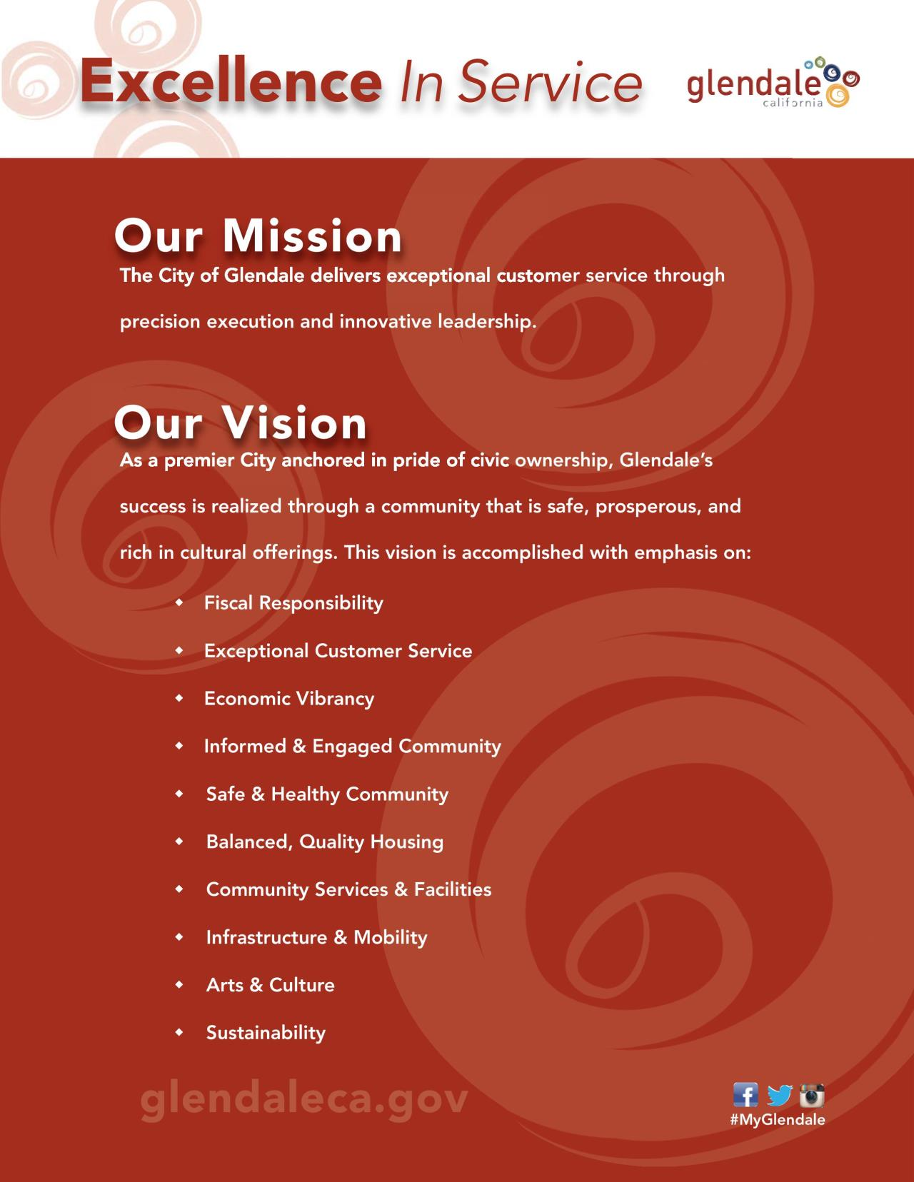 City of Glendale CA Mission Vision Statements – Restaurant Statement