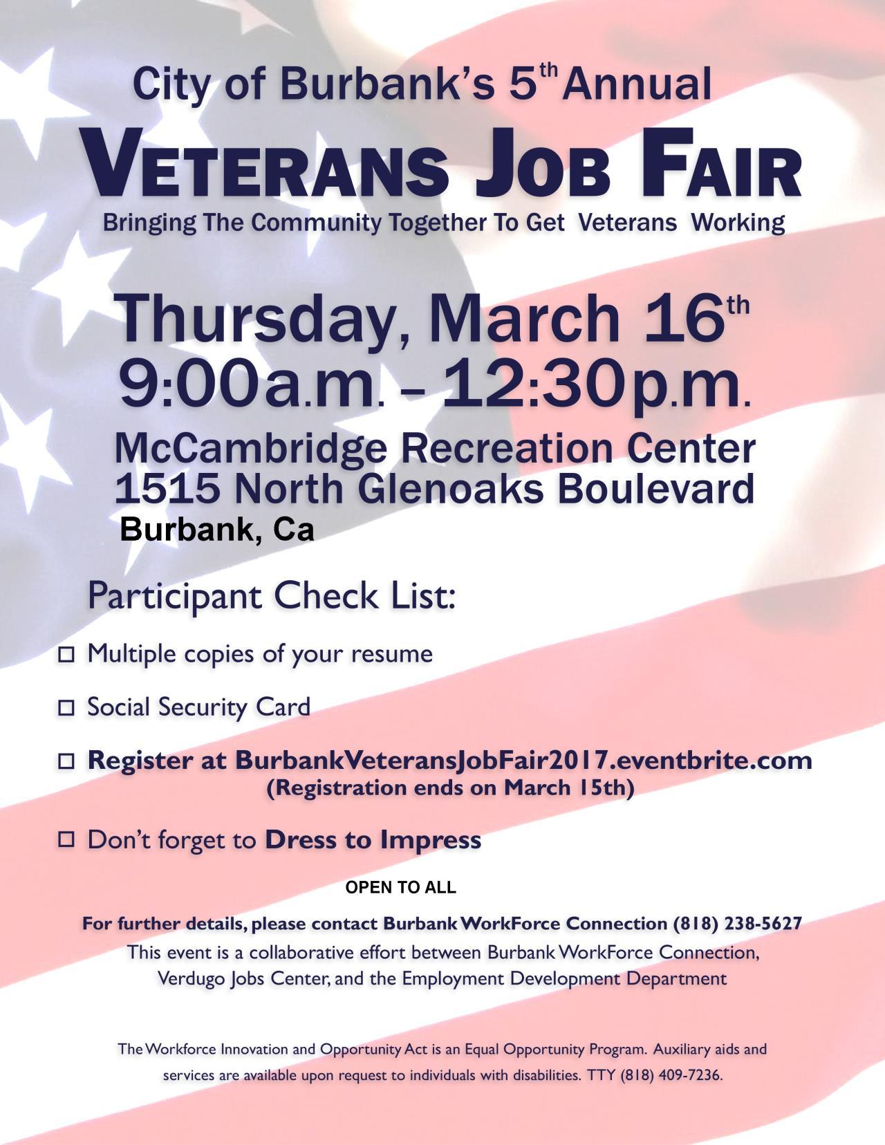 city of glendale ca verdugo jobs center final veteran s job fair
