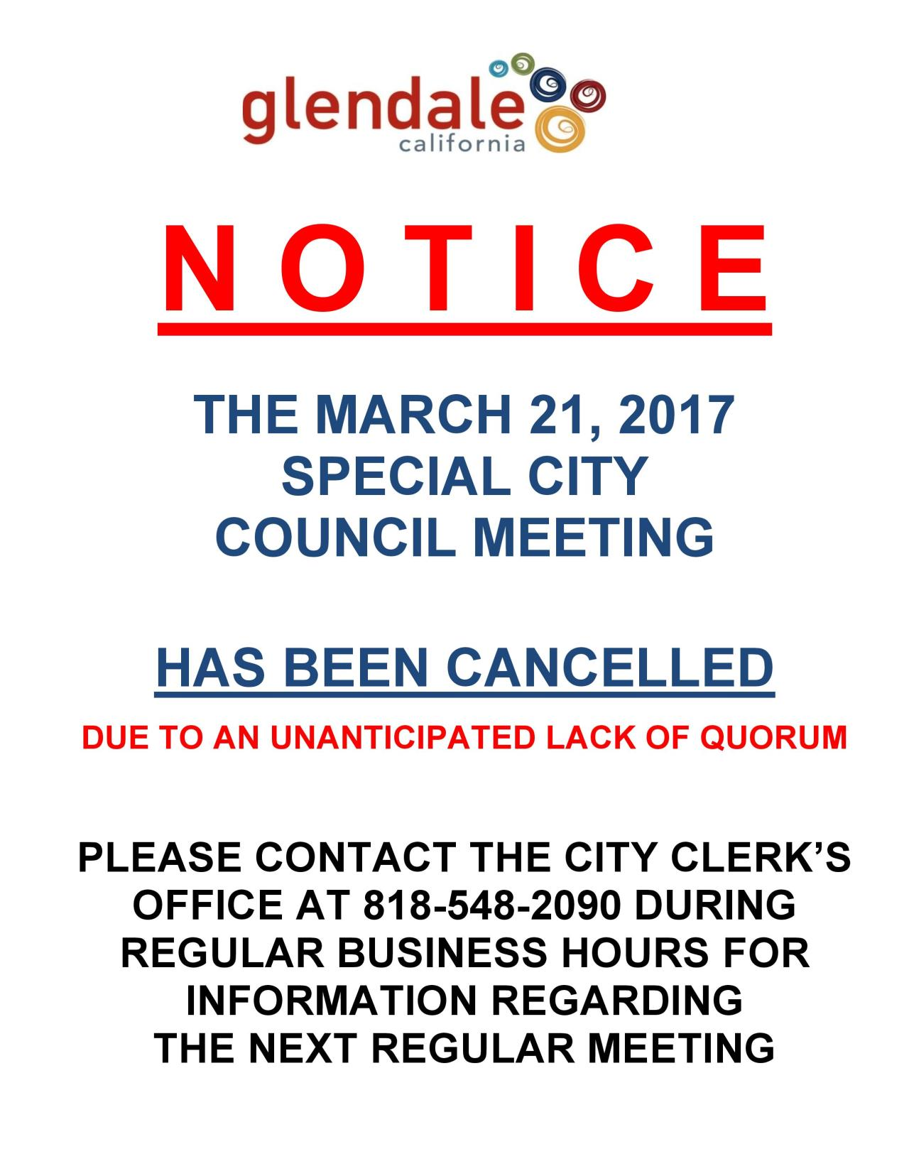 NOTICE Special City Council Meeting Cancellation-page-001