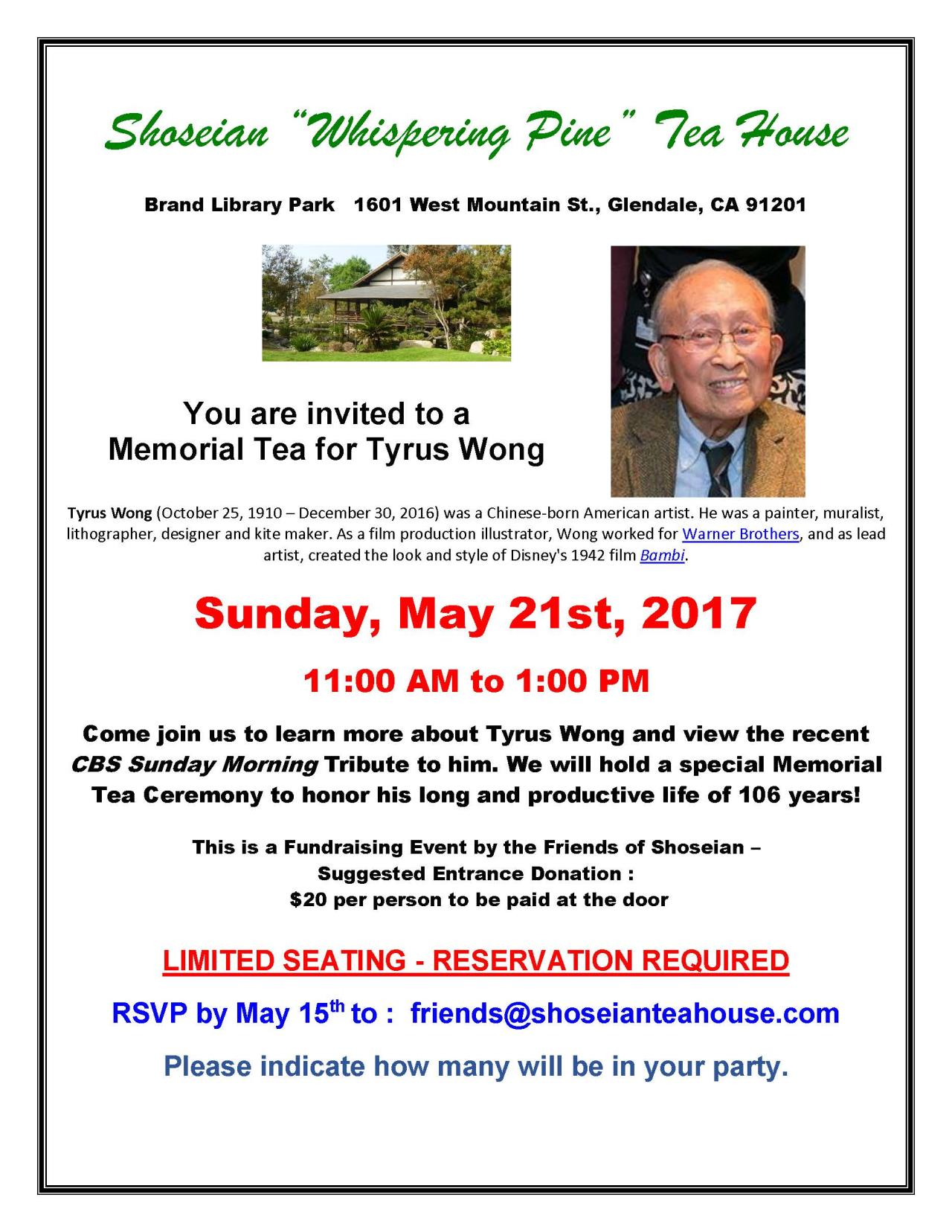 Tyrus Wong Memorial Tea