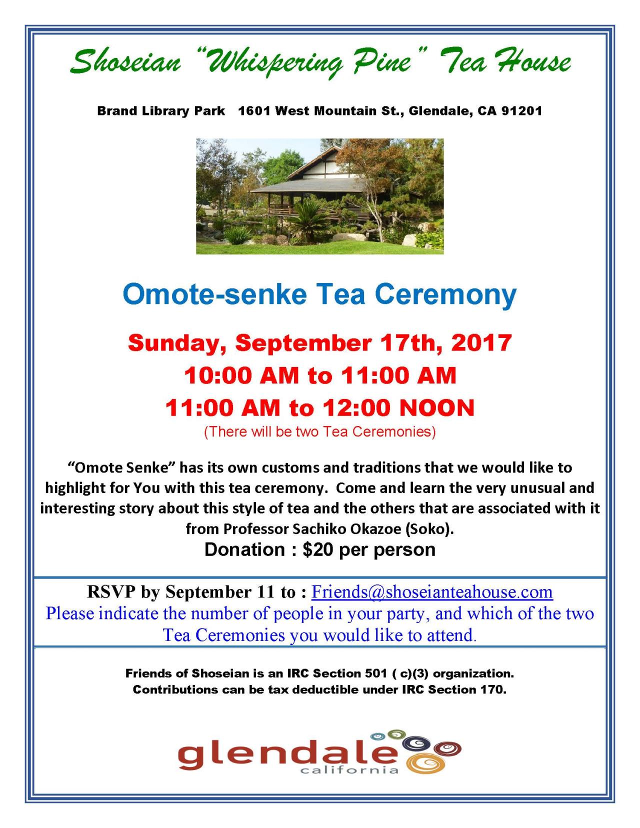 Shoseian Tea House - Omote-senke Flyer 09-17-17 V1