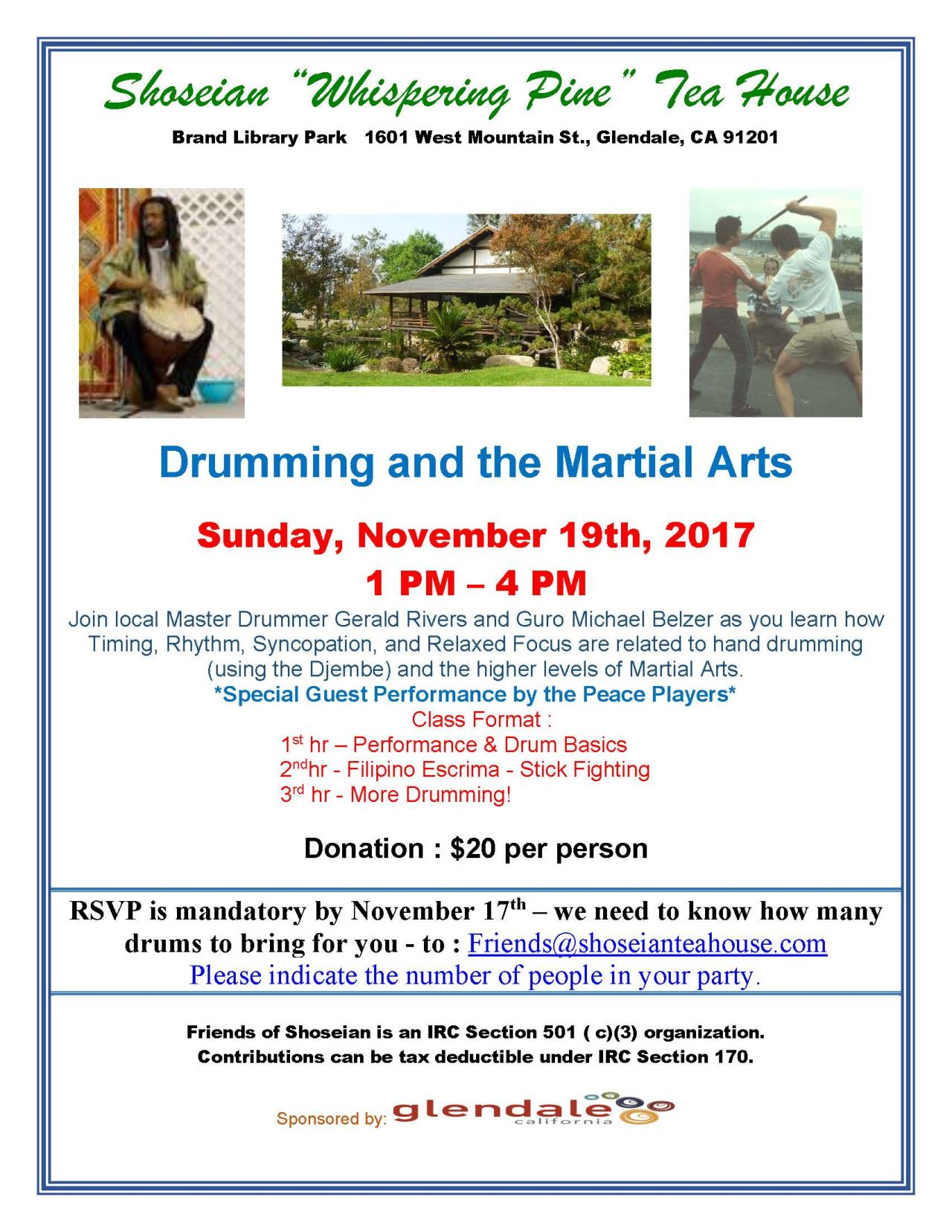 Shoseian Tea House - Drumming and the Martial Arts - 11-19-17 V2