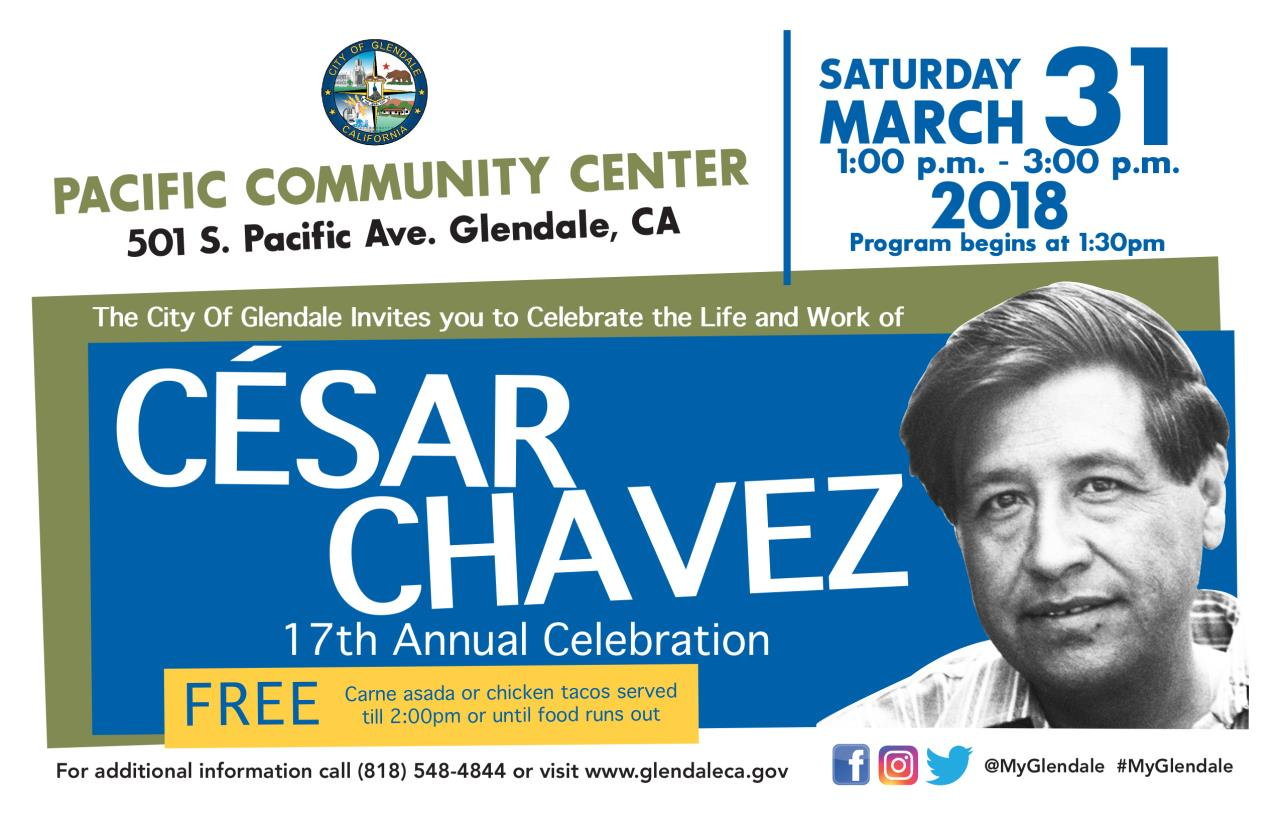 Cesar Chavez save the date card 2018