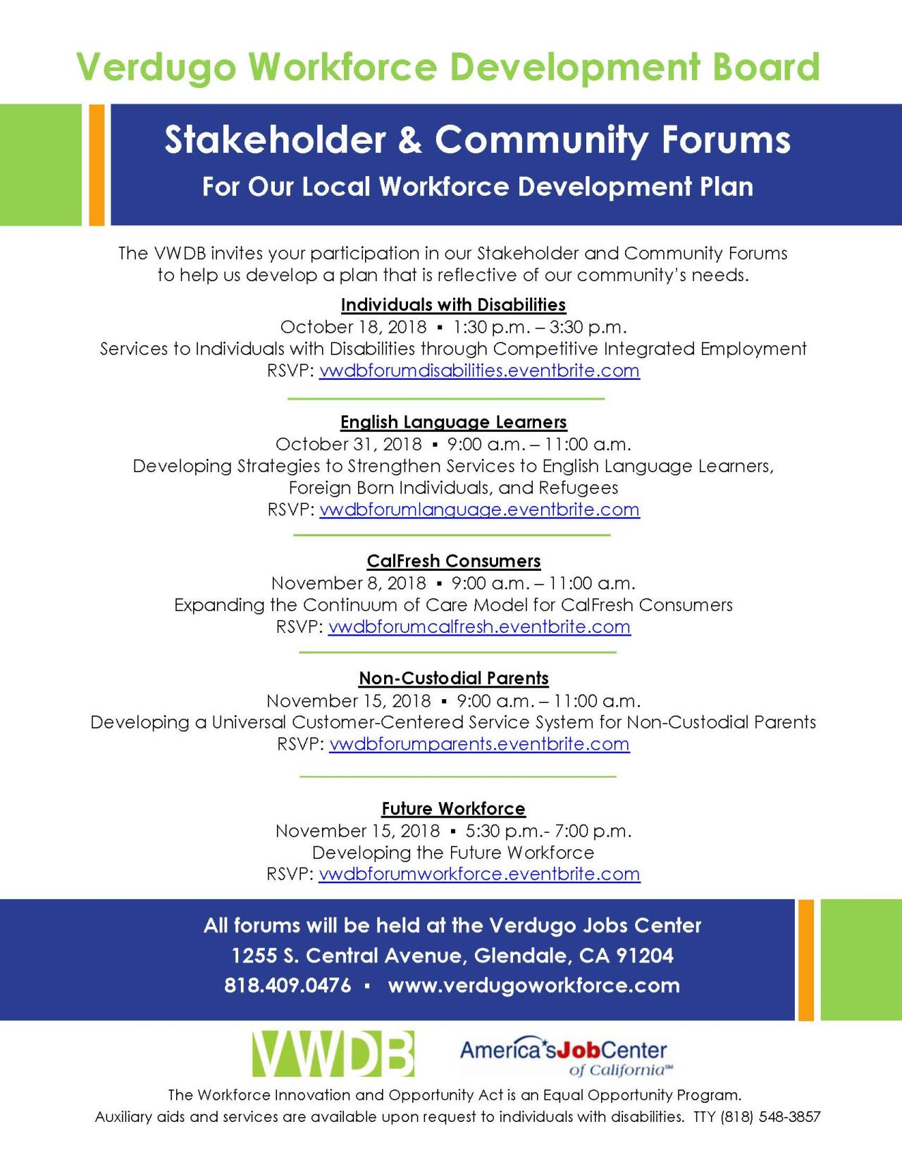 VWDB Formal Stakeholder Forums Flyer FINAL