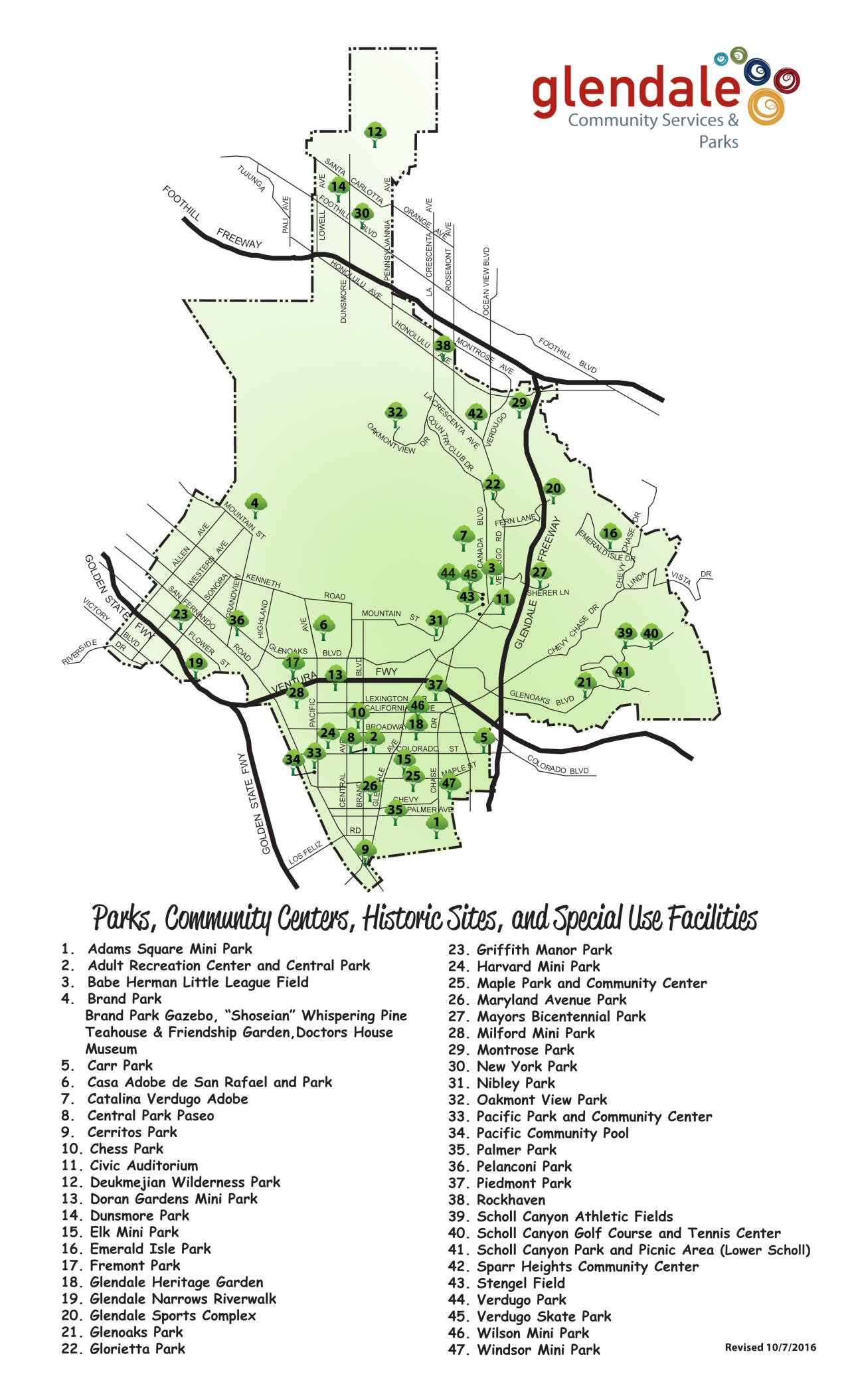 Map of Glendale Parks