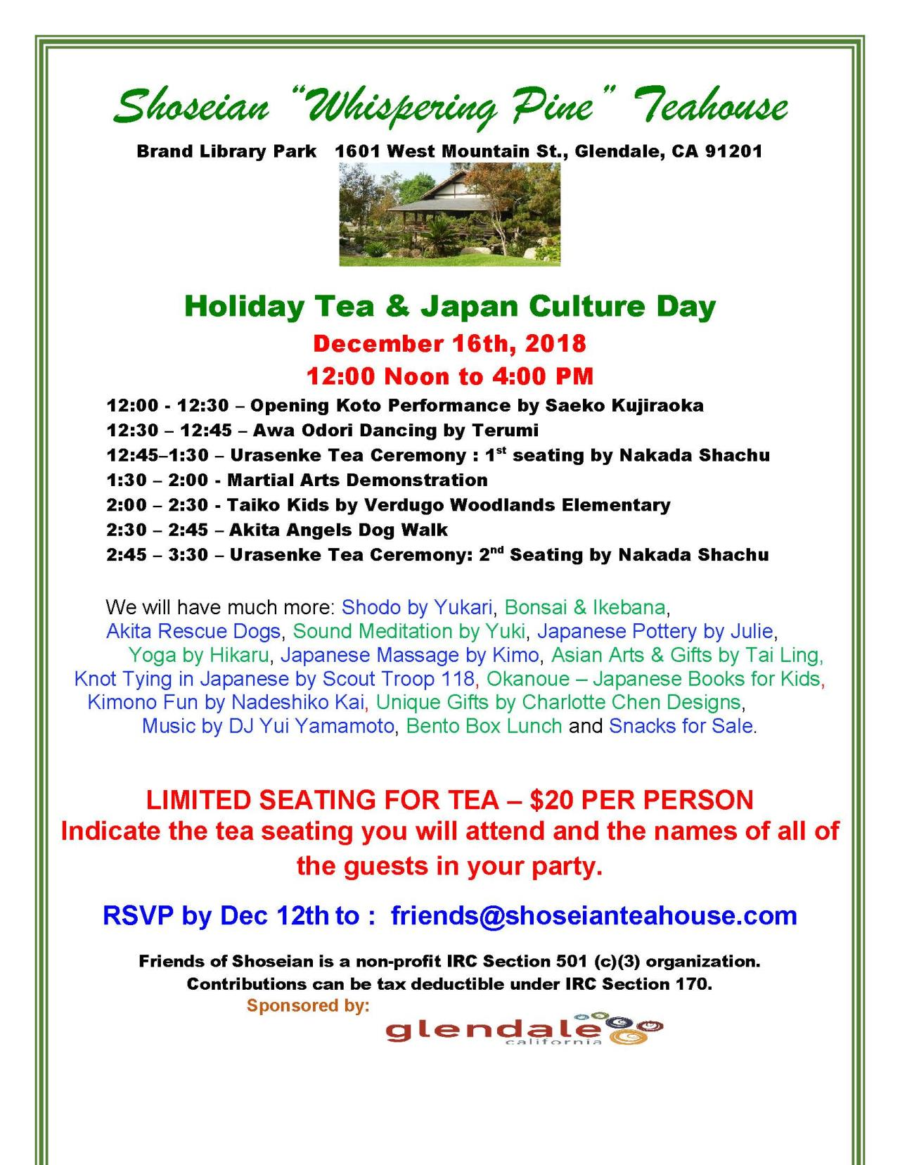 Shoseian Teahouse Holiday Tea flyer 12-16-2018 V3