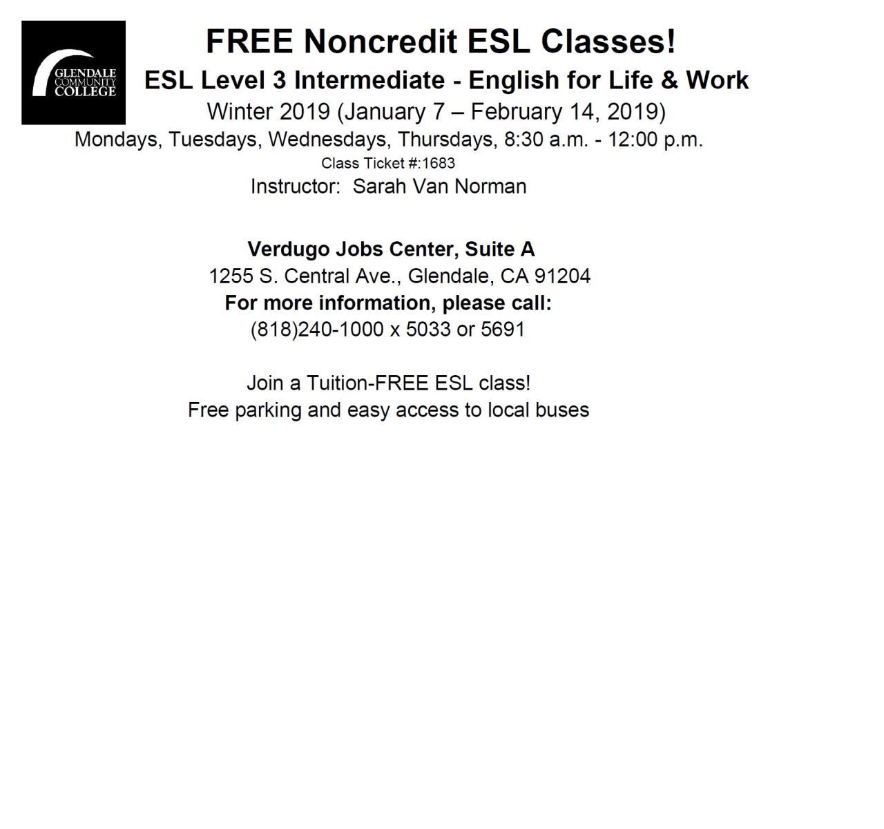 FREE Non Credit ESL Classes