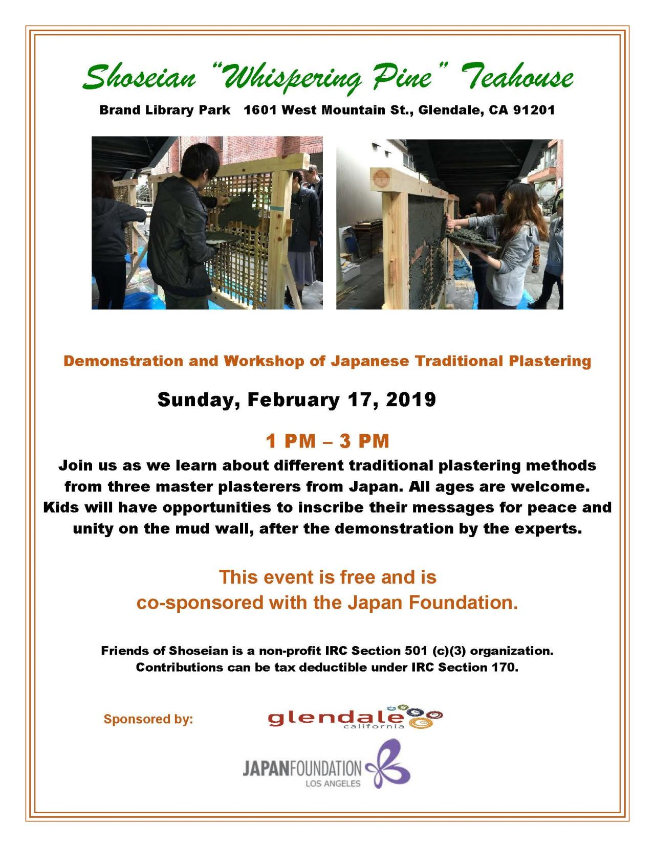 Shoseian Tea House 02-17-19 Traditional Plastering - FLYER (v1)
