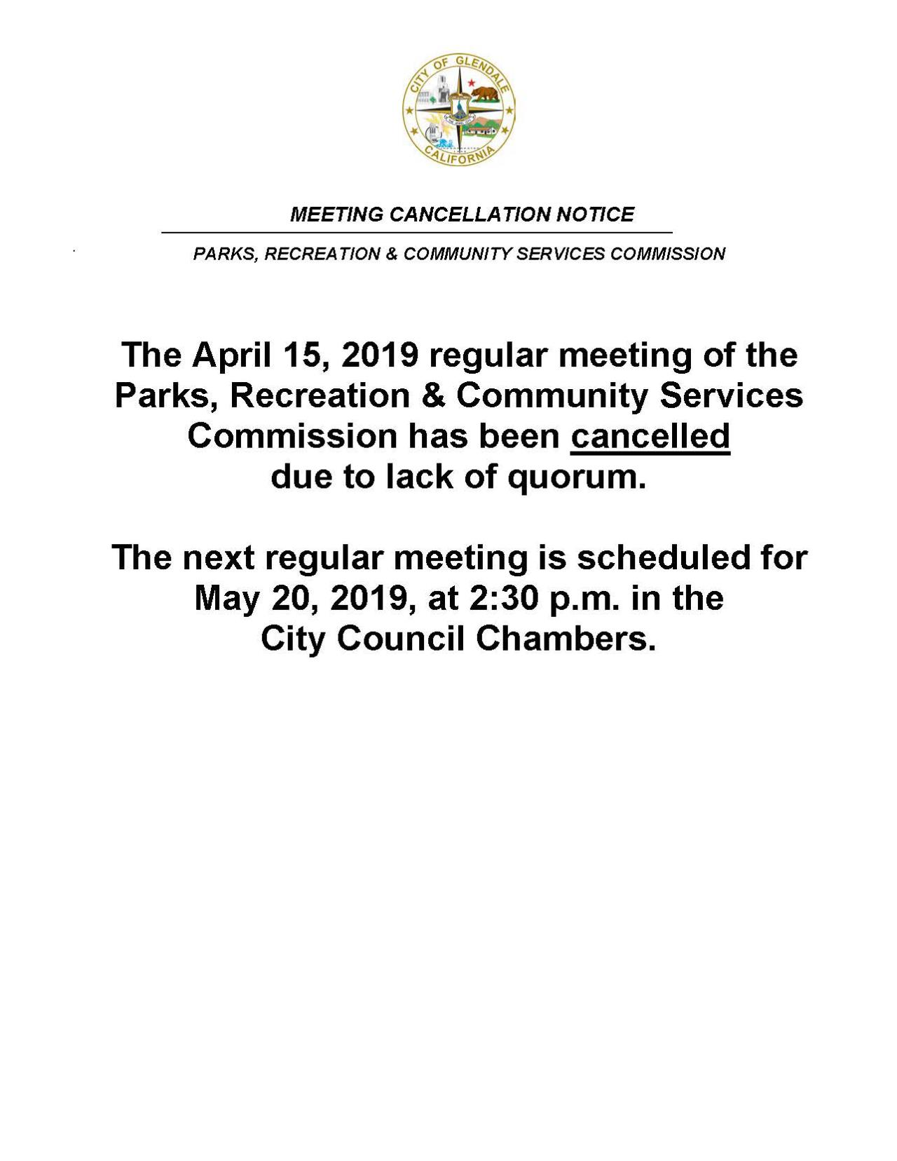 Meeting Cancellation Notice_April 15, 2019