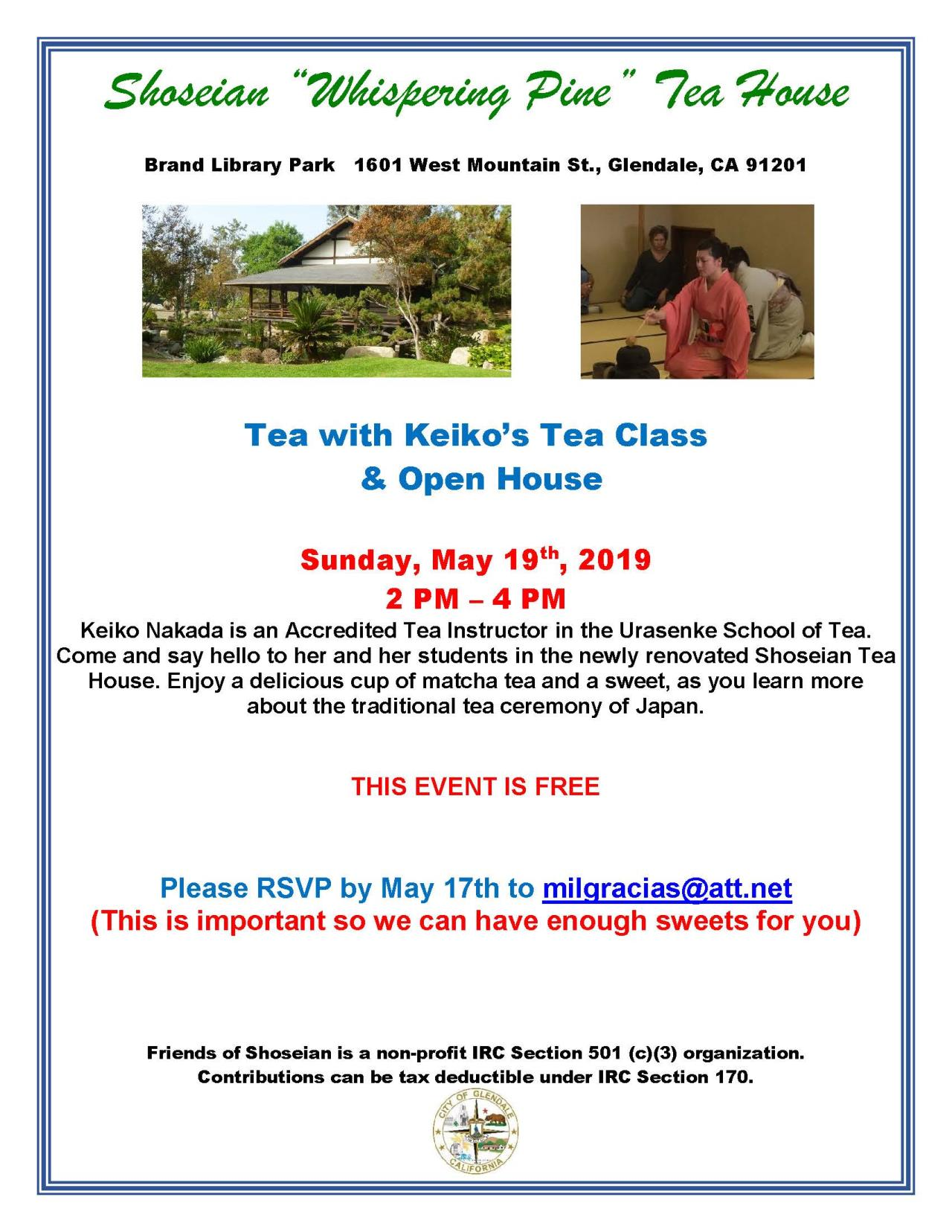 Shoseian Tea House -May 19 2019 - Tea with Keiko - Flyer V1