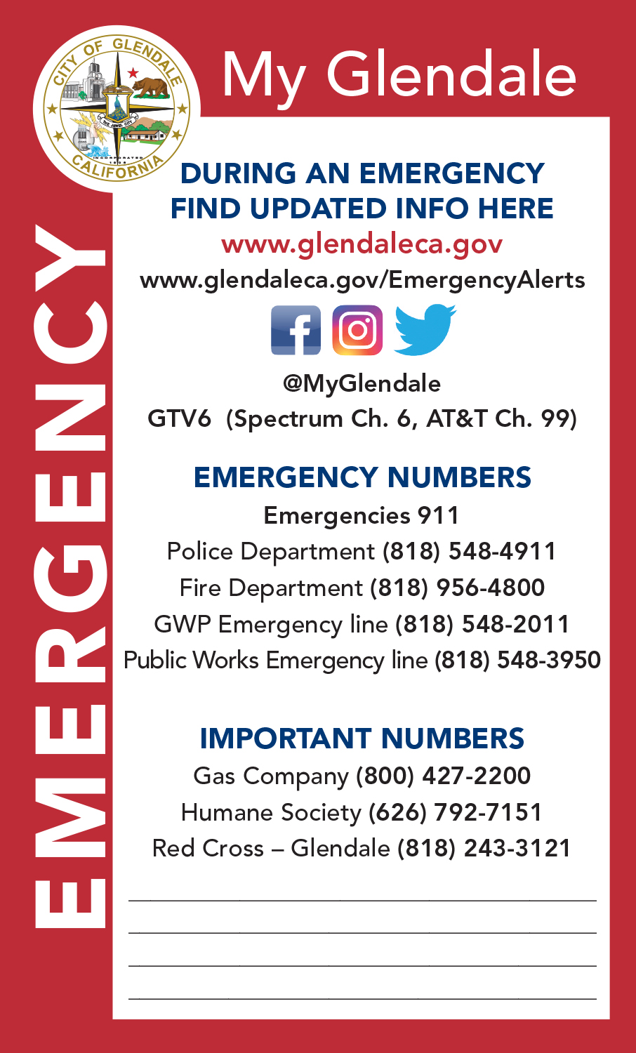 Emergency Home Page | City of Glendale, CA