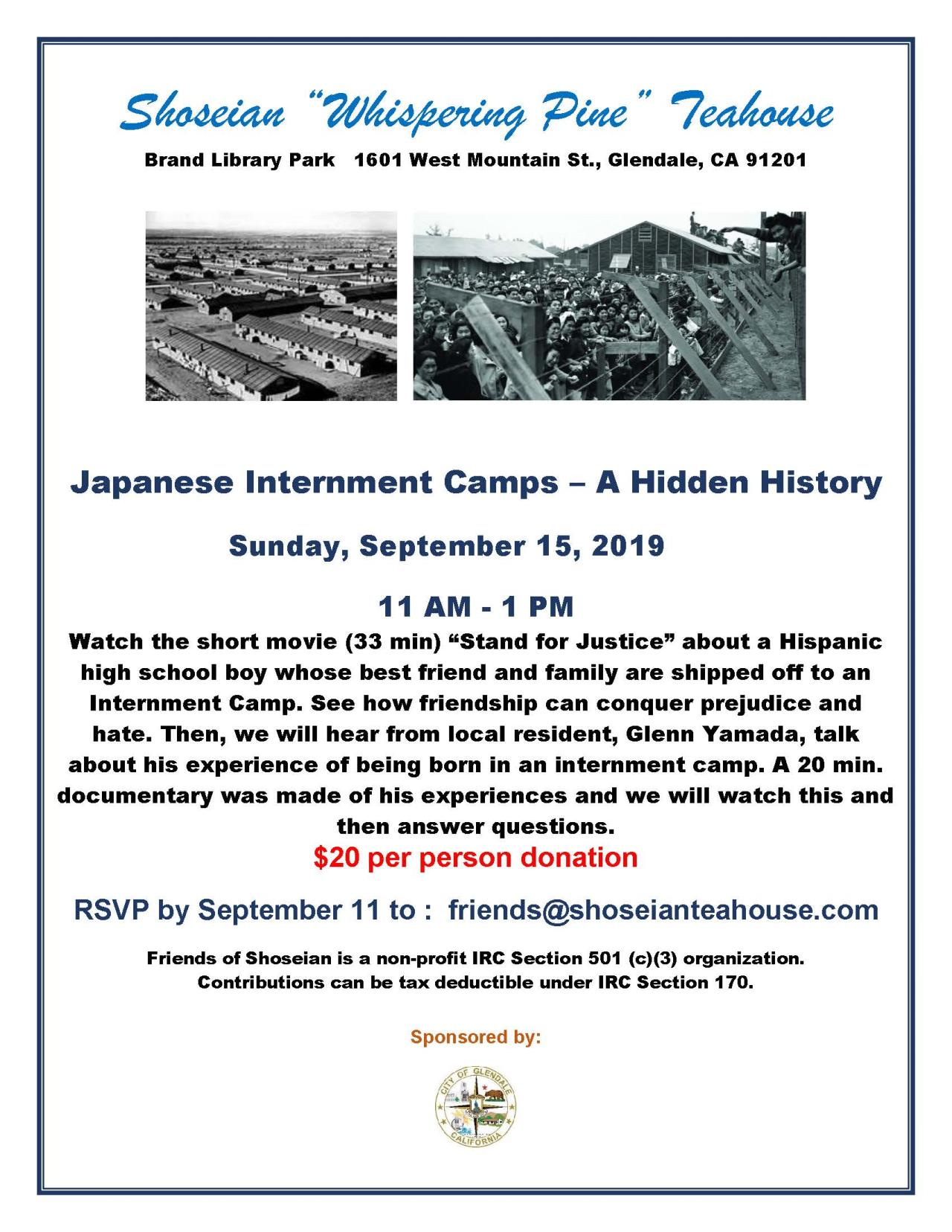 Shoseian Tea House 09-15-19 Japanese Internment Camps - FLYER V1