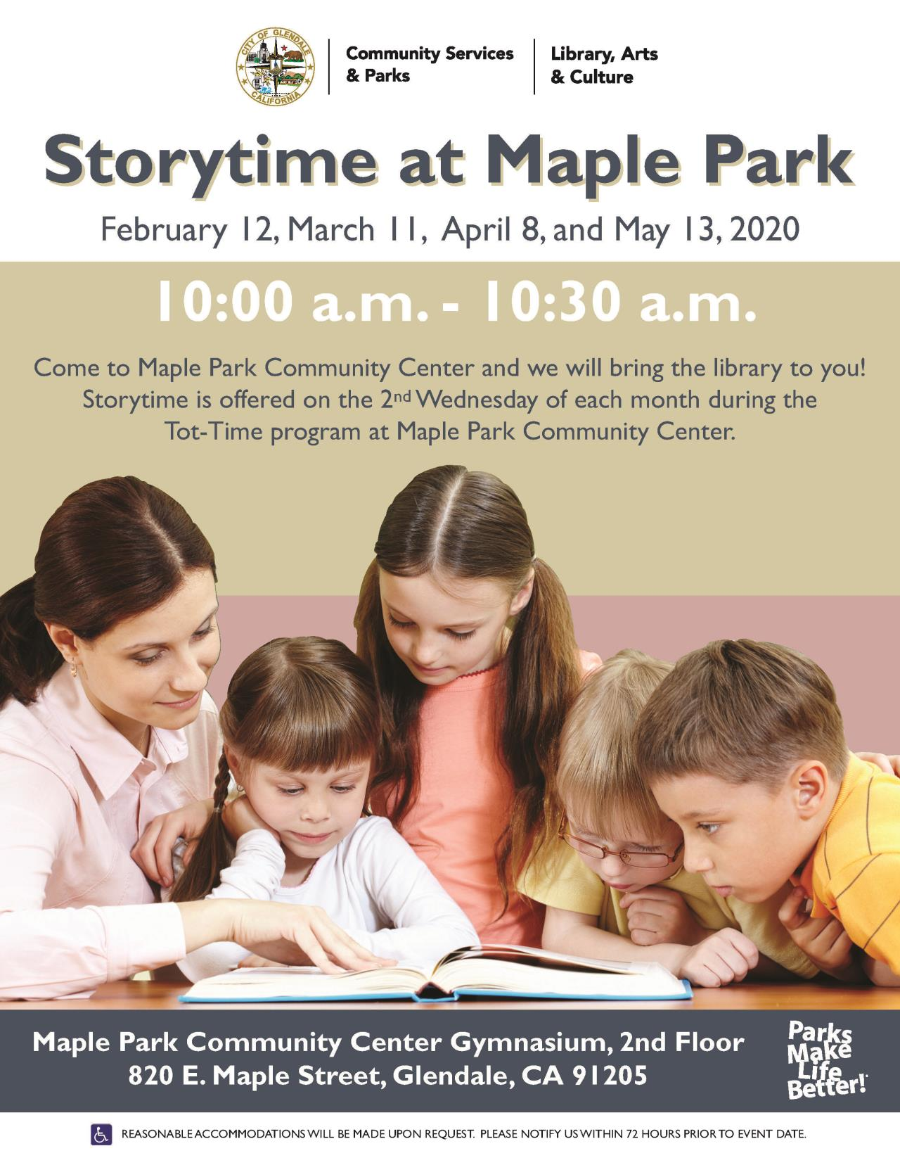 Maple Park Storytime at maple flyer 1-8-2020
