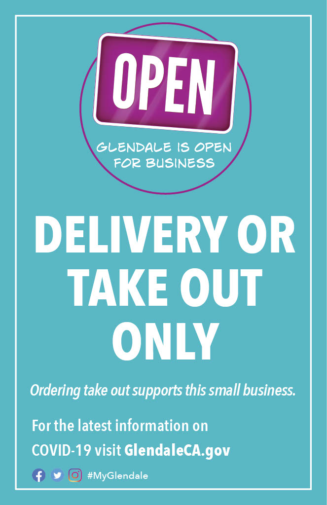 Open for Delivery or Take Out Sign