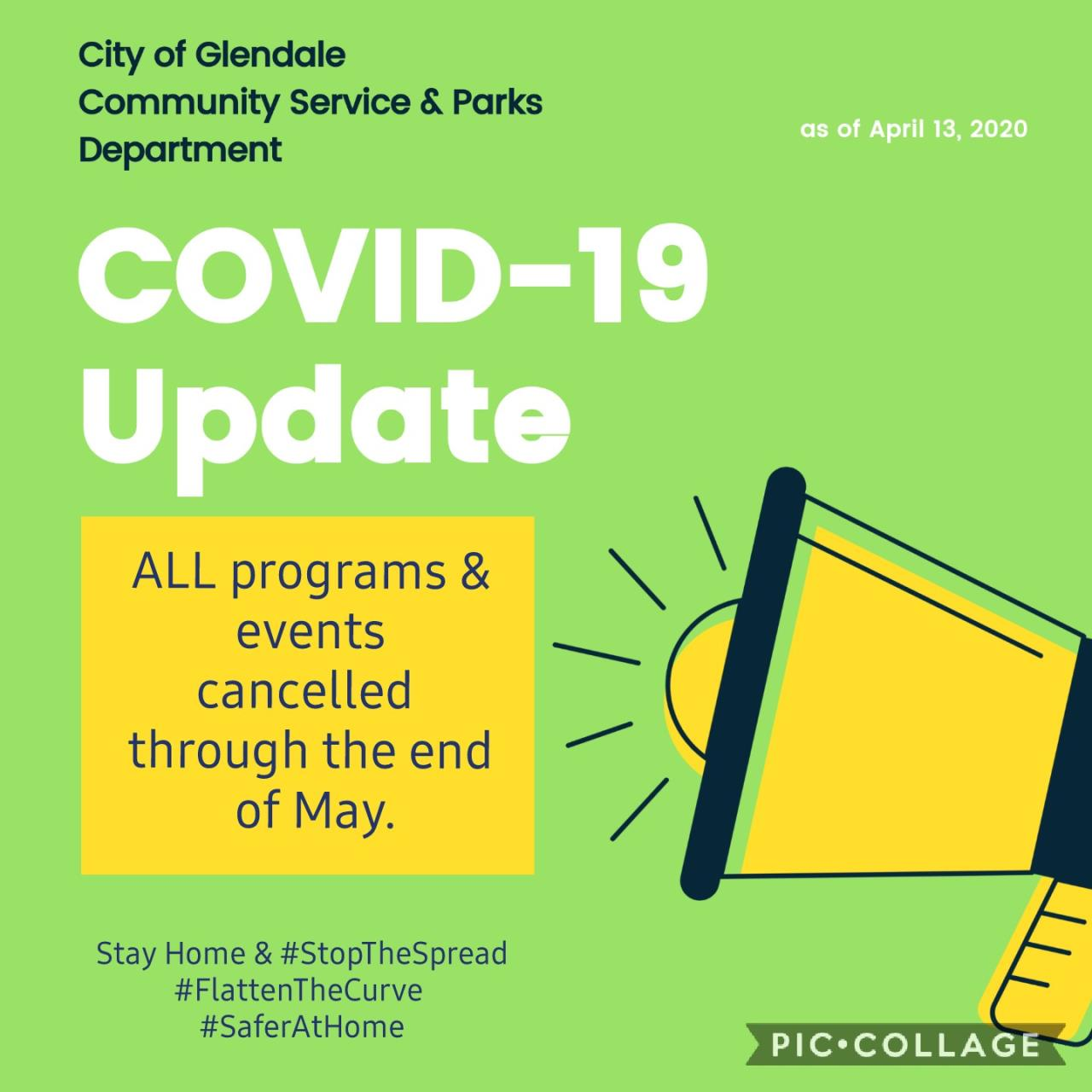 Cancellations through end of May