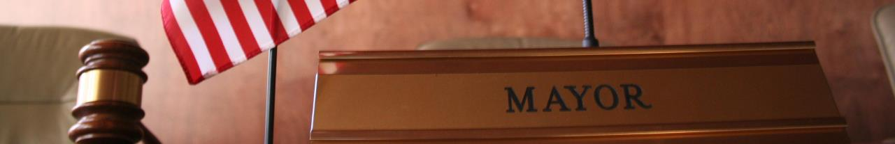 Mayor's nameplate and gavel