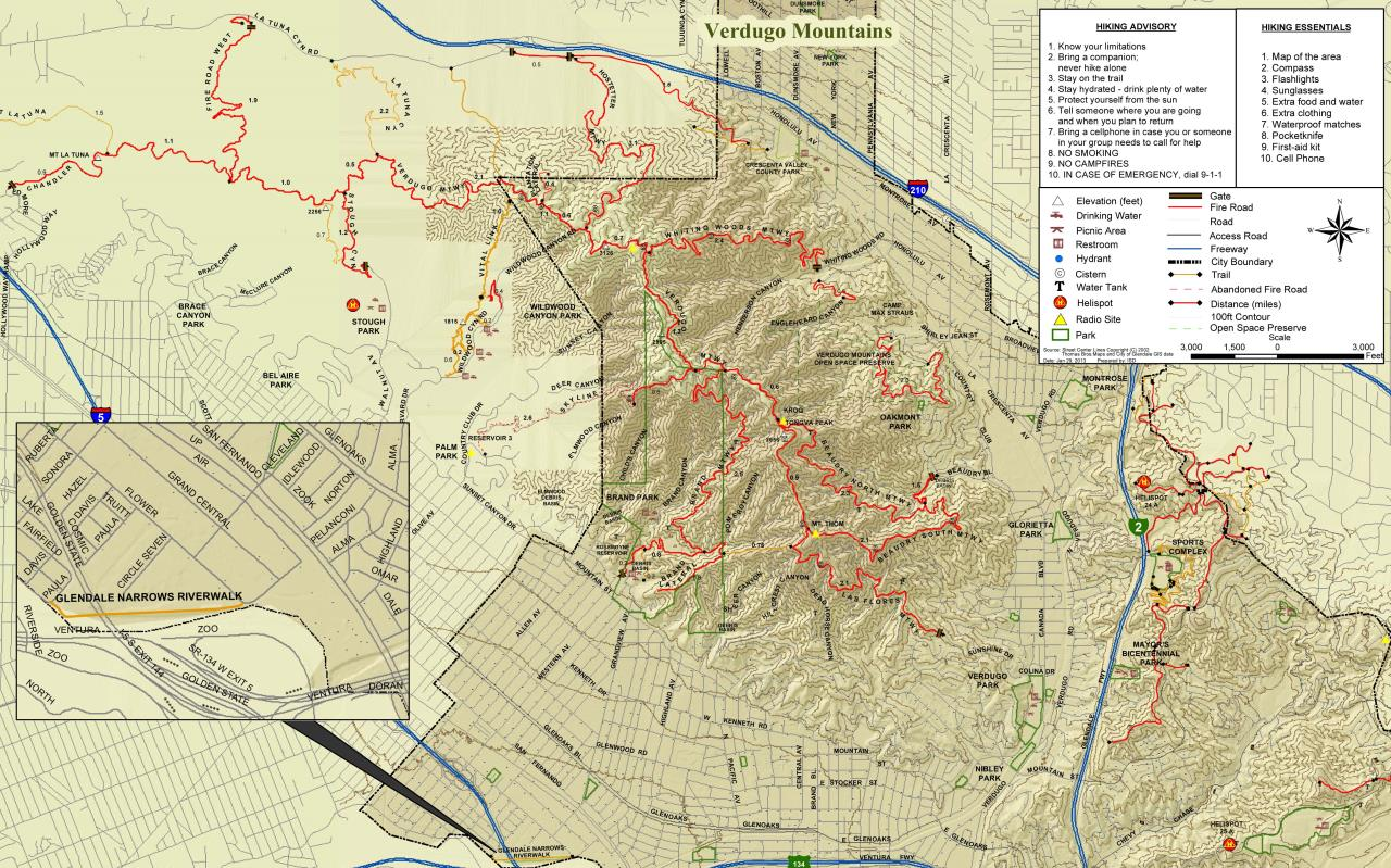 Verdugo Mountains Trail Map