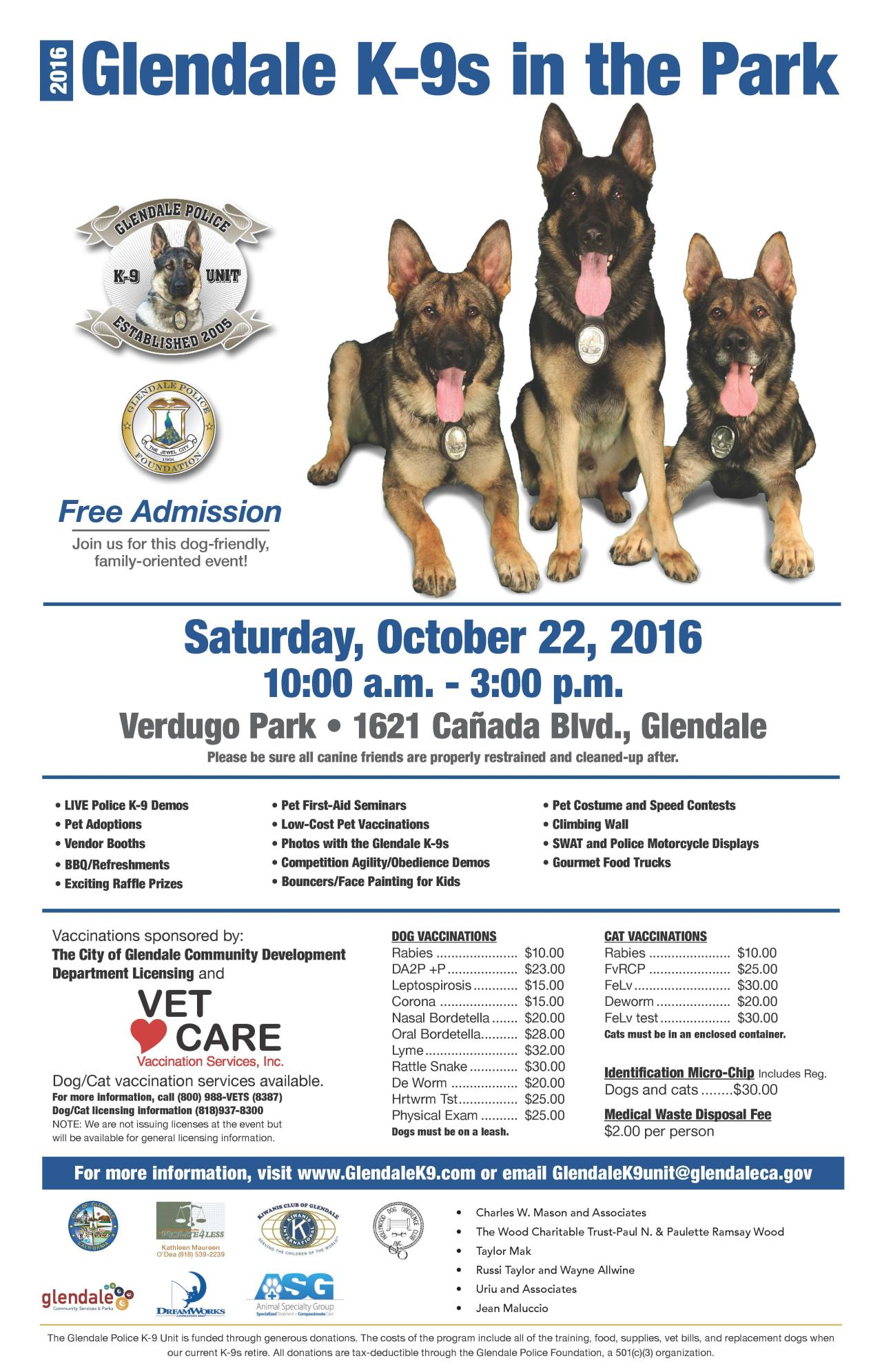2016 Glendale K9s in the Park_Event Poster